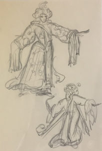 Chinese Opera Sketch Pencil on paper, 11 x 8 1/2.
