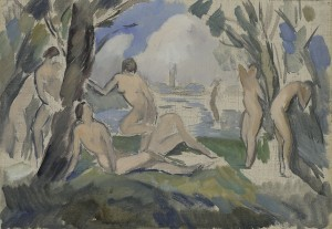 Study for Bathers Oil and pencil on canvas.