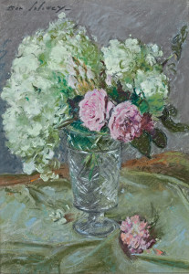 Roses & Hydrangea. Pastel on paper.