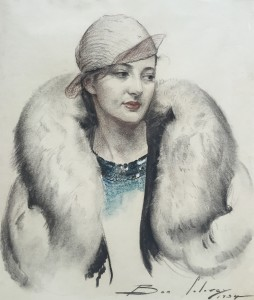 Rae in Fur Coat Charcoal & pastel, 1934